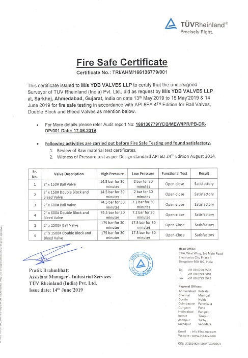 Fire Safe Cetificate TUV YDB Valves India